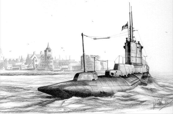 HMS Seahorse - Pencil Drawing